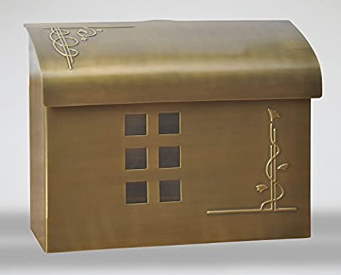 Ecco E7 Arts and Crafts Mailbox - Large Brass Wall Mount Mailbox - 6 Finishes Available (Satin
