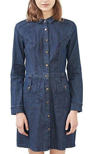 edc by ESPRIT Damen Kleid 126CC1E016, Blau (Blue Dark Wash 901), 36 (Herstellergröße: S)