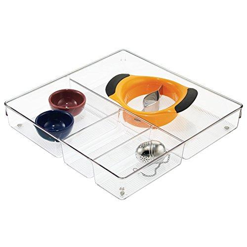 iDesign Schubladen Organizer, großer Schubladeneinsatz mit 4 Fächern aus Kunststoff, verwendbar als Besteckkasten für Schubladen, durchsichtig