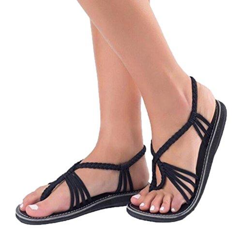 BBestseller Sandalias mujer, Sandalias romanas de playa con trenzas cruzadas para mujer zapatos de playa cómodos sandalias salvajes de la manera ligera sandalias de abiertos (39, negro)