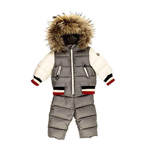 Moncler tutone da neve 2 pezzi bambino junior art. sanaz 42 951 7030625 9/12 mesi - months grigio/bianco - grey/white