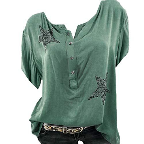 Frauen Sommer Sexy V-Ausschnitt Casual Large Size Tops Shirts, Mode Button Up Kurzarm Pentagram Print Bluse Tunika Dressy Pant Schwarz