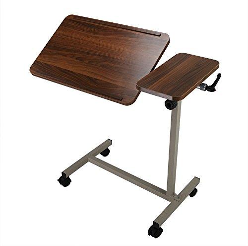 ObboMed MT-2250 Höhenverstellbarer Bett-oder Laptoptisch mit verstellbarer Tischneigung, Kippplatte und feststellbaren Rädern, geeignet zum Essen, Lesen und Arbeiten, Holzmuster