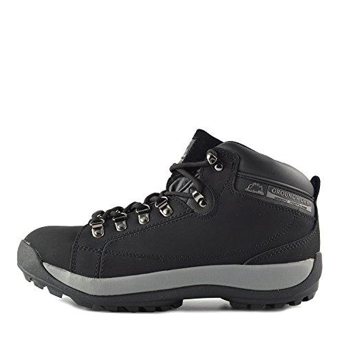 Kick Footwear Herren Groundwork Leder Arbeit Steel Toe Leichte Unisex Erwachsene Sicherheitsstiefel - UK 7/EU 41, Schwarz (Steel Toe Wasserdicht Arbeit Stiefel)