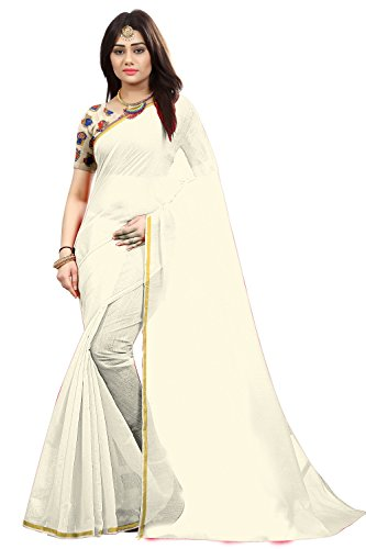 Silverstar Chanderi Cotton Saree With Blouse Piece (Sss1218 To Sss1222_White_Free Size)