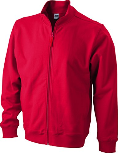 James & Nicholson Herren Sweat Jacket Sweatshirt Rot (Red)