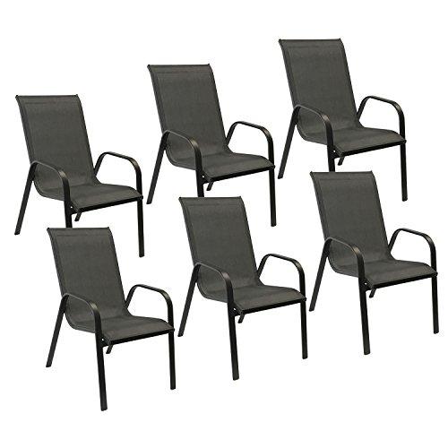 Happy Garden Lot de 6 chaises Marbella en textilène Gris - Aluminium Noir
