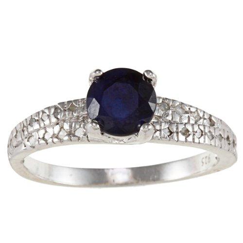 Sterling Argento 1,5ct Genuine Zaffiro Blu e diamanti, Argento, 53 (16.9), cod. R502382SA-sz6 .5