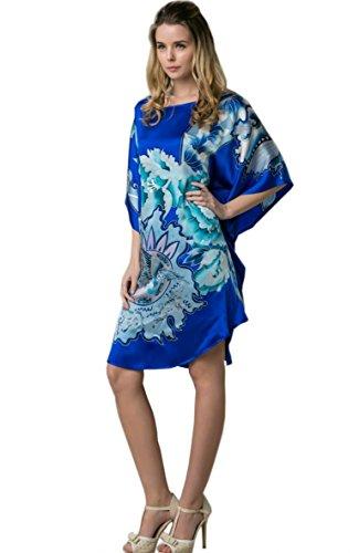 Prettystern - 100% Crepe Satin SEIDE Kimono Nachthemd mit handbemalter chinesischer Pinsel Malerei YBS802 Königsblau
