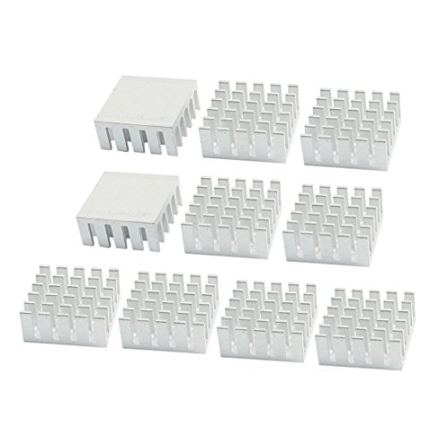 10Pz argento tono radiatore 22mm x 22mm x 10mm alluminio raffreddamento pinna