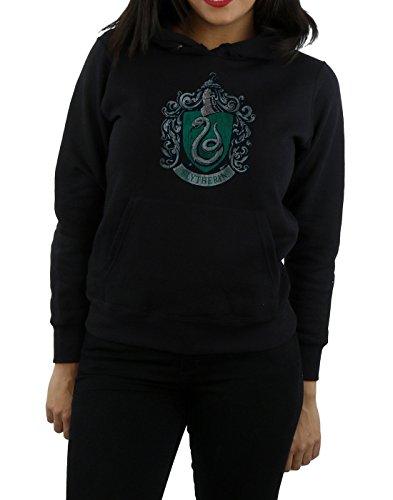 Harry Potter Femme Slytherin Distressed Crest Sweat À Capuche Noir