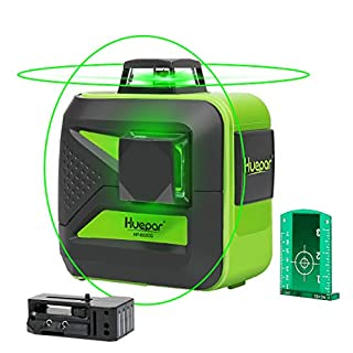 Huepar 602CG Self-Leveling Green Beam Laser Level 2x360 Cross Line Laser Dual Plane Leveling and Alignment Line Laser Level - One 360° Horizontal and One 360° Vertical Line - Magnetic Pivoting Base