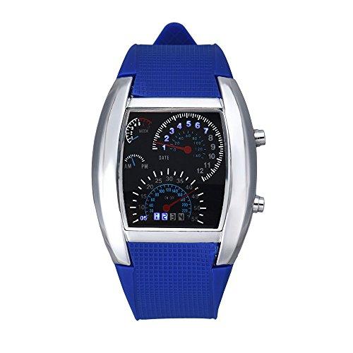 Orologio da polso, jiameng ❀ orologio aviazione moda aviation turbo dial flash vigilanza del regalo mens lady led sports car meter (m, a)