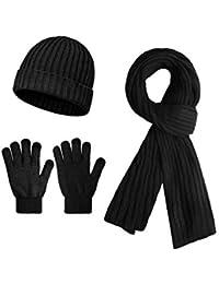 Sykooria 3 piezas Sombrero de invierno Bufanda Guantes Set Cálido Gorro de punto Gorro Bufandas gruesas y guantes con pantalla táctil