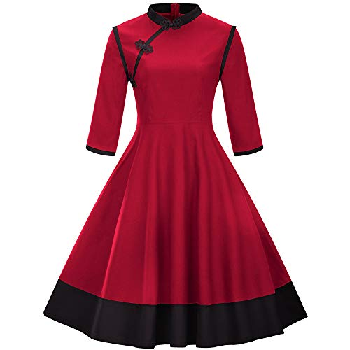 VEMOW Herbst Winter Elegante Damen Ballkleid Frauen Vintage Prinzessin Plaid Cocktailkleid Peter Pan Kragen Unregelmäßige Party Aline Swing Kleid(A-Rot, EU-38/CN-M)
