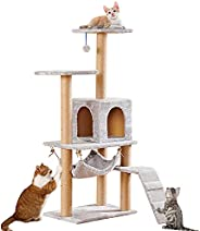 TAME Cat Tree Tower Multi-Level Cat Condo Stand House for Indoor with Scratching Posts Kitty Pet Play House (S