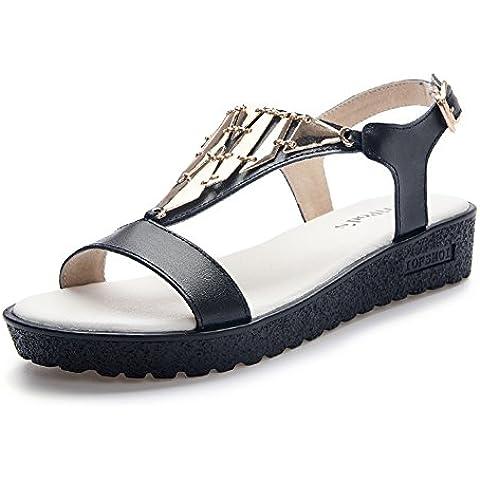 Donna Sandali/Leather flat scarpe con gli studenti alla fine dell'estate/