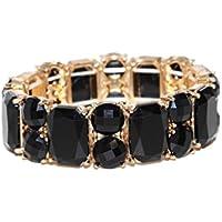 Lux accessori, colore: nero, pietra rettangolare, con