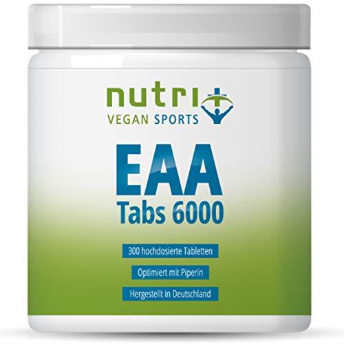 EAA TABLETTEN Neutral | 300 Mega Tabs à 1025mg | HÖCHSTE DOSIERUNG | essentielle Aminosäuren | EAAs ohne Magnesiumstearat | Nutri-Plus Vegan Sports | Hergestellt in Deutschland