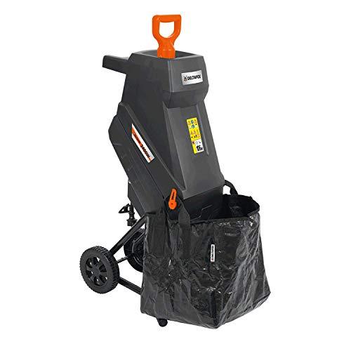 DELTAFOX Elektro Messerhäcksler - 2400 W - inkl. 45 ltr Fangsack - 12 kg leicht - Laufräder mit Radabdeckung - Gartenhäcksler für 45 mm Äste - Schredder