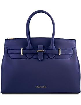 Tuscany Leather Elettra Handtasche aus Ruga Leder mit goldfarbenen Beschläge