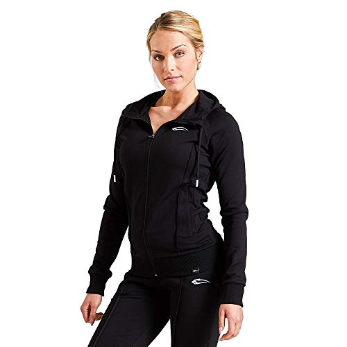 SMILODOX Damen Kapuzenpullover 'Suit up' | Zip Hoodie für Sport Fitness Training & Freizeit - Sportpullover - Kapuzenpulli mit Reißverschluss-Sweater-Lange Ärmel, Farbe:Schwarz, Größe:M
