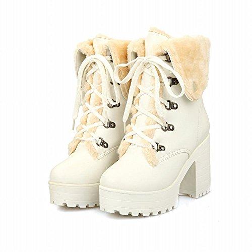 Mee Shoes Damen chunky heels Plateau mit Schnürsenkel Stiefel Weiß
