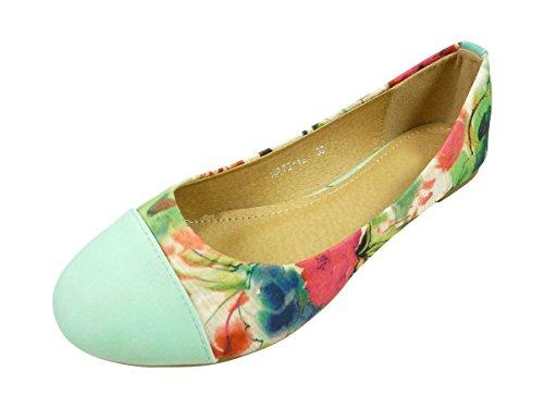 Ballerine in tessuto fiori, scarpe donna basse Verde