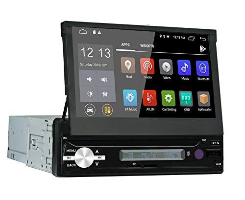 LEXXSON 1 Din Autoradio Android 6.0 Auto Stereo mit GPS Navigation Bluetooth HD 1080P Automatisch Ausfahrbarer Touchscreen Unterstützt FM/AM/RDS/DAB SD/USB/Lenkradsteuerung/Freisprechen/Mirror Link