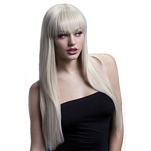 Hochwertige Qualitäts Damen Herren Kunsthaar Perücke lang glatt Styling Haar (Blonde Herren Haare)