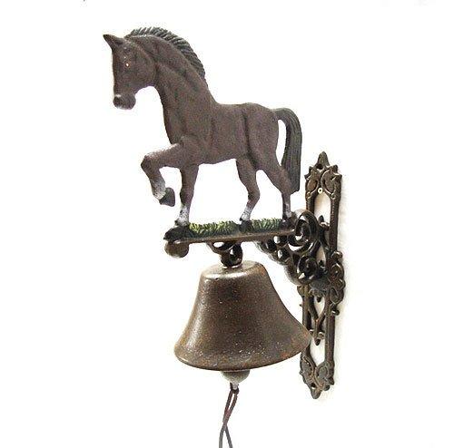 zeitzone Türglocke Pferd Nostalgie Glocke Gusseisen Antik-Braun 42cm