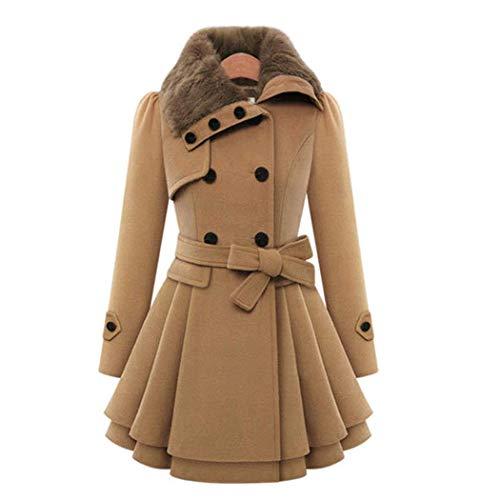 Sliwei Damen Kunstpelz Pea Coat Revers Zweireiher dicke Wolle übergroßen Swing Trenchcoat (Double Breasted Pea Coat Dress)