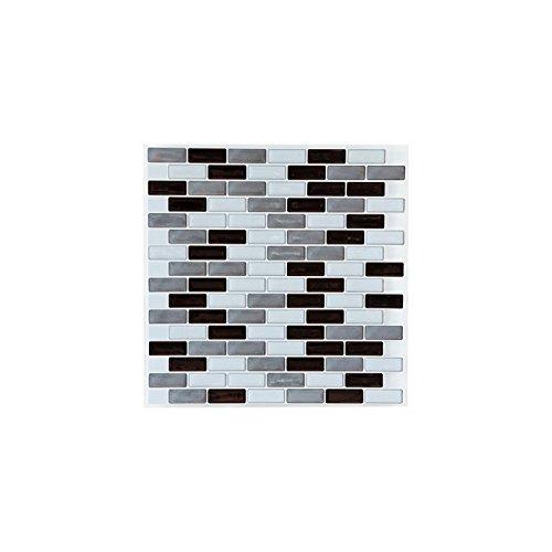 AC-Déco Sticker carrelage Rectangle mosaïque - Lot de 2-25 x 25 cm - Noir et Gris