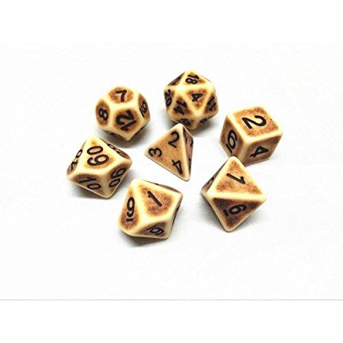 Arkero-G 7er Premium Dice Würfel-Set Ancient: Braun - für Rollenspiele, Brettspiele & Sammelkartenspiele