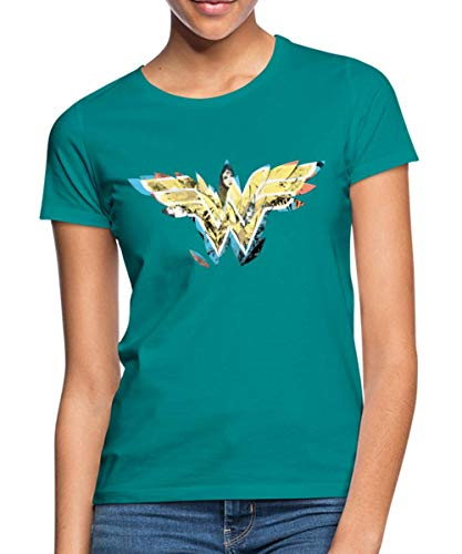 Spreadshirt DC Comics Wonder Woman Logo Aus Blättern Frauen T-Shirt, M (38), Divablau (Wonder Woman Blatt)
