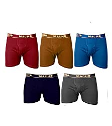 Macho Mens Long Cotton Fine Trunk Pack of 5 (Multi Color ) (Size :90 CM)