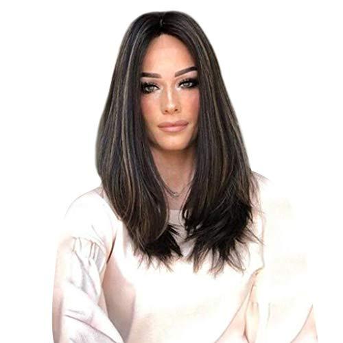 Bluestercool Mode gefärbtes chemisches Faser haar, braun und schwarz mischte Farbe langes lockiges Haar Mikrorolle langes gerades ()
