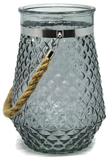 Bada Bing XL Windlicht Rhomb Glas GRAU Kordel Raute Relief Teelichthalter 09