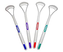Tongue Scraper Cleaner X 2 ~ Choice Of 4 Colours ~ Oral Dental Care (Red, Green)