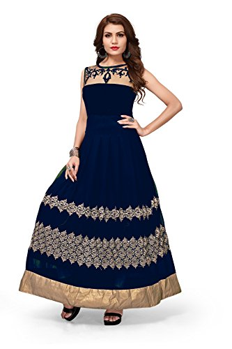 Royal Export Women's Georgette Black Anarkali Party Wear Gown (blue, Small)