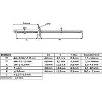GESIPA ISO15973 Dichtniete Flachrundkopf 500 St/ück,1453879 Aluminium mit Stahldorn,4.8 x 16 mm