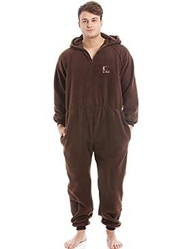Pijama de una pieza para hombre - Forro polar suave - Con capucha y cremallera frontal - Marrón