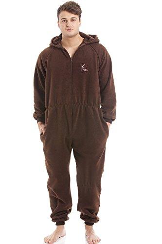 Herren Schlafanzug-Overall mit Kapuze - Reißverschluss vorne - weiches Fleece-Material - Braun S (Vorne-mit Kapuze-fleece Reißverschluss)