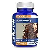 Biotina 10,000mcg, 180 Comprimidos. La Potencia Más Alta para un Pelo Saludable. 10,000µg.