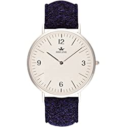 Swiss Quartz Sheringham Men's Watch By Birline - Durable Stainless Steel Case - Scratch Resistant Sapphire Glass Lens - Unique Harris Tweed Straps With Soft Leather Backing - 6mm Thick