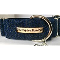 "Harris Tweed Winter Night 2"" Martingale Dog Collar Greyhound Lurcher Sighthound Whippet Small Medium Large"
