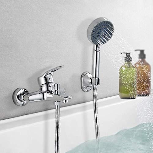 BONADE Wannenarmatur mit Handbrause Chrom Wannenbatterie Brausegarnitur mit 5 Strahlarten Badewanne Wasserhahn Dusche Badewannenarmatur Einhebel Wannenmischer für Bad Badezimmer
