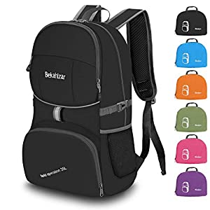 Bekahizar 35L Lightweight Rucksack, Soft Foldable Backpack, Upgraded to 4 Compartments Daypack for Travel Hiking Camping…