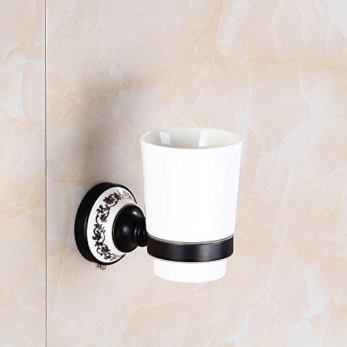 Wansheng Classic Black Ceramic Zahnputzbecherhalter, European Wall Mount Single Cup Zahnbürstenhalter, Badezimmerzubehör Bad Set Single Cup Material Messing (Zahnbürste-halter Classic)