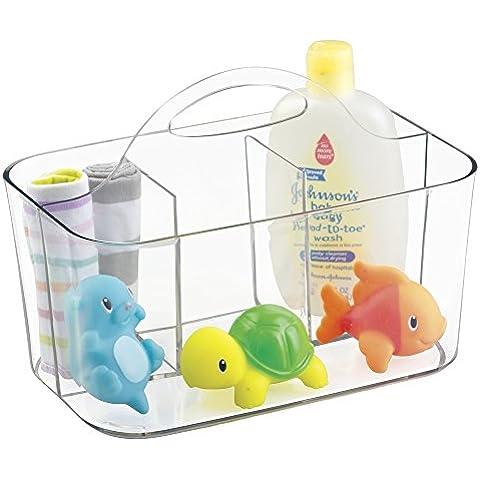 mDesign - Canasto organizador para la guardería del bebé y del niño pequeño o para el cuarto de baño - Claro